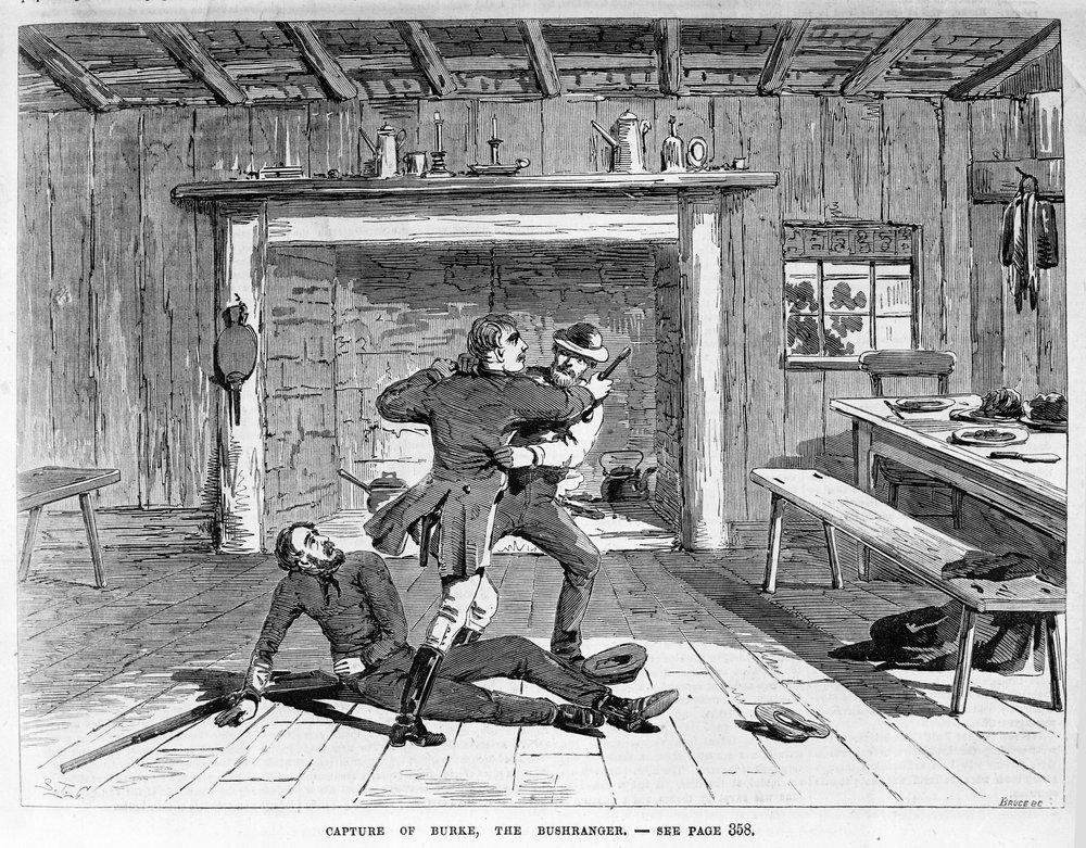 Capture of Burke, the bushranger, by Robert Bruce, 1839-1918, (engraver) and S.T. Gill, 1818-1880, (artist). Published September 27, 1866, Illustrated Melbourne Post