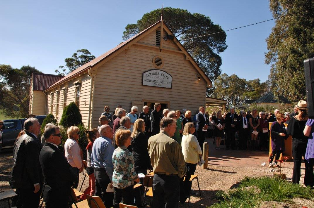 The Arthurs Creek Mechanics Institute's WW1 Honour Roll and Commemorative Garden Opening, Sunday 17th April 2016