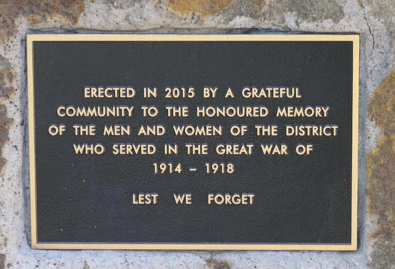 Erected in 2015 by a grateful community to the honoured memory of the men and women of the district who served in the Great War of 1914 - 1918.  Lest We Forget.  Arthurs Creek Mechanics Institute's WW1 Honour Roll and Commemorative Garden Opening, Sunday 17th April 2016