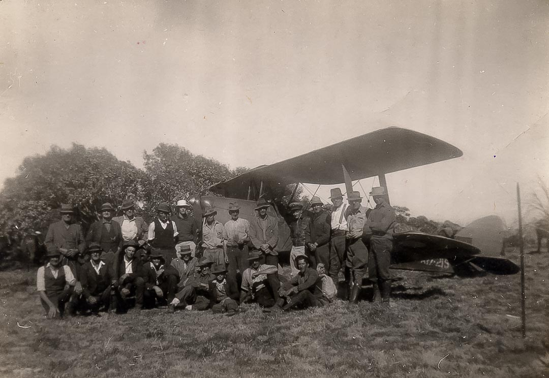 The RAAF Tiger Moth at Wombat Plain near Mt Wellington in 1944.  In 1995 Jim Draper recounted the story of this war time rescue operation, conducted on horseback in the rugged mountains of the Victorian High Country, to Ian Stapleton for his book 'Weatherbeaten Wisdom' published in 2008