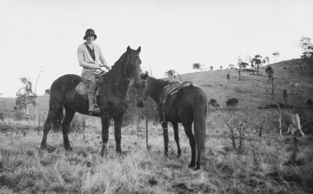 My mother Beatrice at 'Barton Hill', Yan Yean during her courting days with my father.  My parents moved to Heyfield, a gateway to the Victorian High Country, in 1939.  By this time my mother already had three children and riding ceased, with her only leisure activities being tennis and the church choir