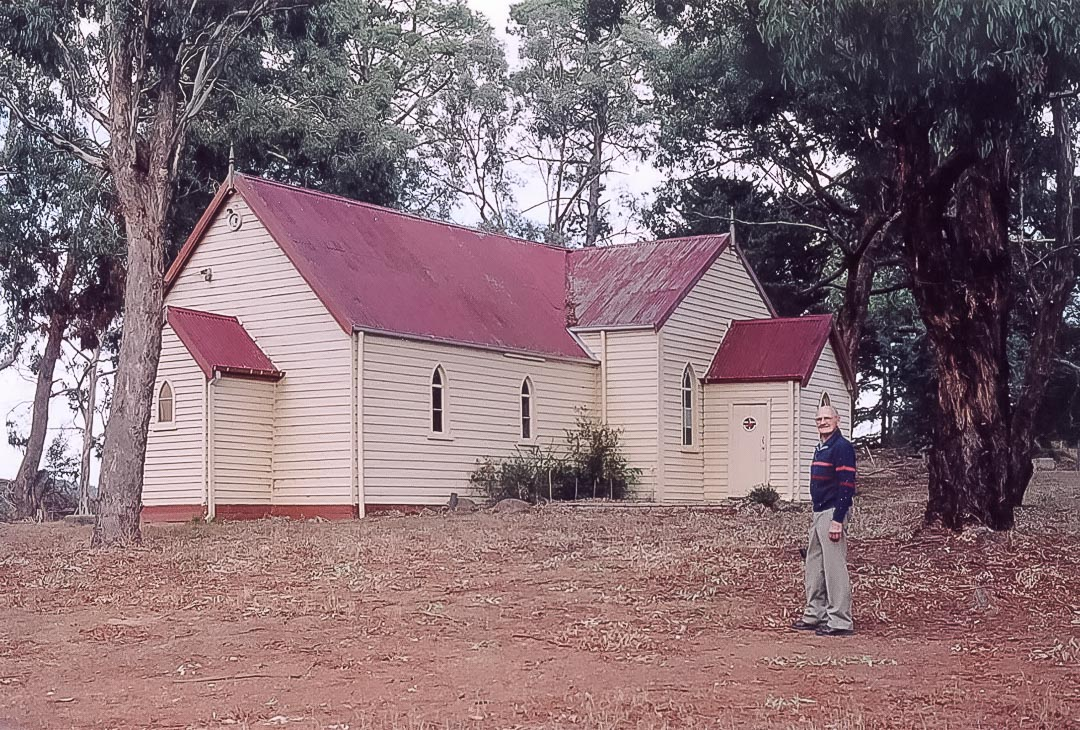 Arthurs Creek Uniting Church opened as a Methodist Church on Sunday 3rd November 1873.  The author's friend Ken Murphy is in the foreground c 1984