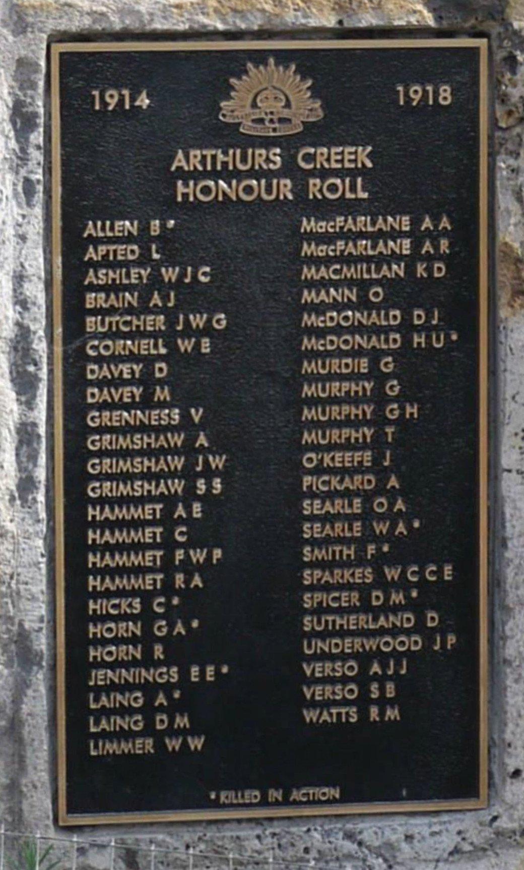 Arthurs Creek Mechanics Institute's WW1 Honour Roll, erected in 2015