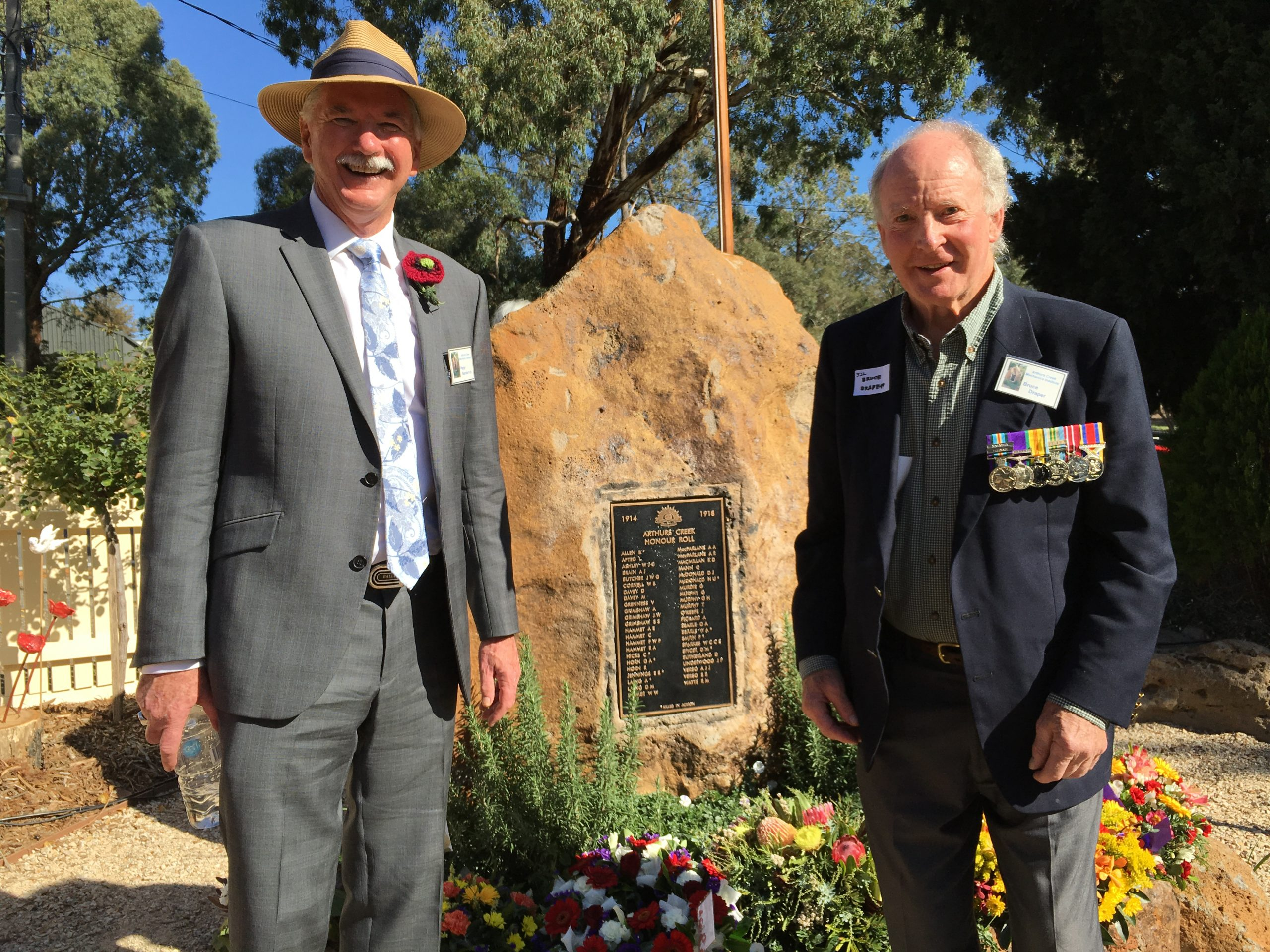 Peter Nankervis and Bruce G. Draper at the Arthurs Creek Mechanics Institute's WW1 Honour Roll and Commemorative Garden Opening, Sunday 17th April 2016