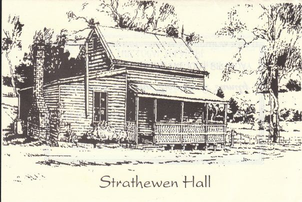 Drew Gregory's sketch of the Hall to celebrate the 100 year anniversary in 2001.  Photo credit www.strathewenhall.com