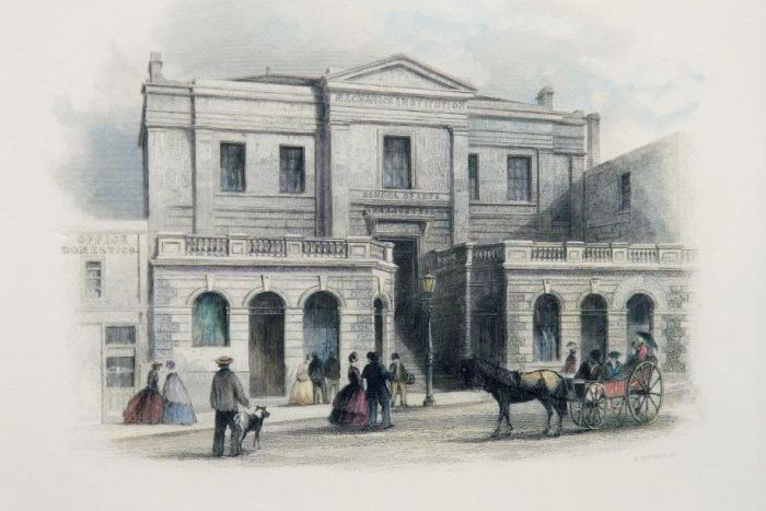 The Melbourne Athenaeum, Melbourne's first Mechanics Institute, in 1855. (State Library of NSW: artist S.T. Gill, 1818-1880)