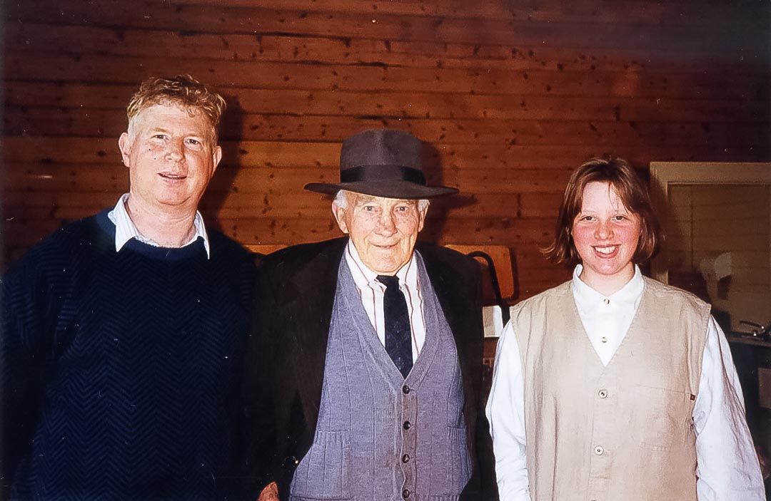 James Chester Draper (centre, the author's father, 1905 - 1998) at the Annual Garden Walk in 1995.  This great community day is run by volunteers who are committed and dedicated to the upkeep, maintenance and restoration of the magnificent 133 year old (in 2020) Arthurs Creek Mechanics Institute Hall.  Left to right: Ross McDonald, Chester Draper, Sonja McDonald