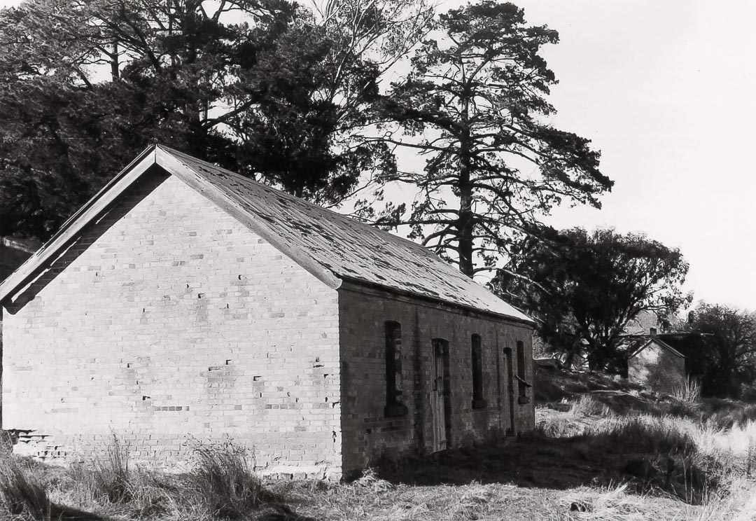 'Charnwood' photographed by Bruce G. Draper in 1968, showing the remains of the stables with the kitchen block behind