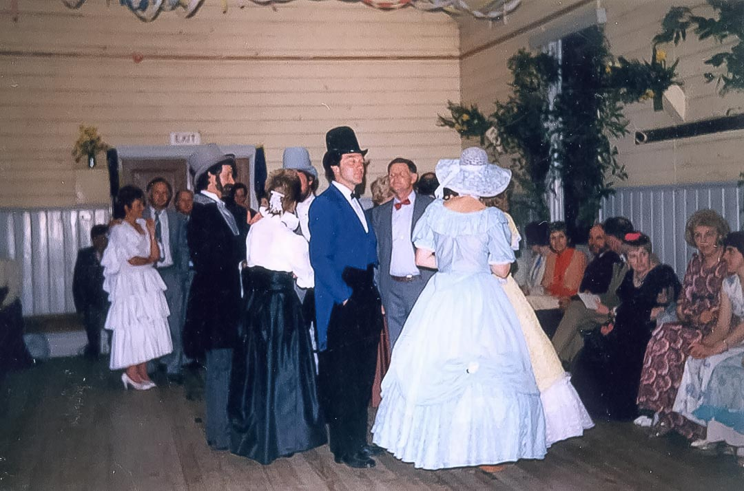 One of the many successful bush dances held at the Arthurs Creek Mechanics Institute Hall over the last 133 years.  Old Time Ball.  Hall Centenary Celebrations, September 1987