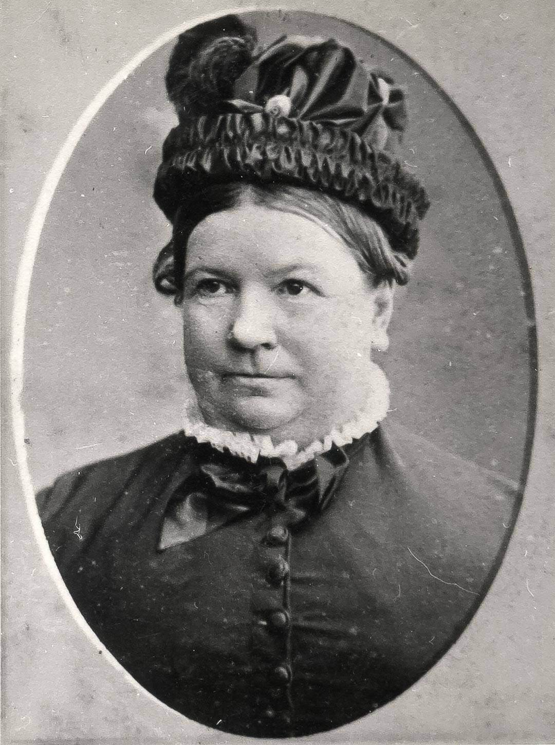 Catherine Draper (nee Chester), (1828 -1884) of 'Charnwood'. Photographed shortly before she died, aged only 56.  Catherine was a descendant of William Chester of Chipping-Barnet, the ancestor of the Chesters of Blaby in Leicestershire, UK.  Their arms bore 'Ermine, on a chief sable a griffin passant Argent'.  Many descendants of the Chesters of Blaby can today be found in Connecticut, USA.