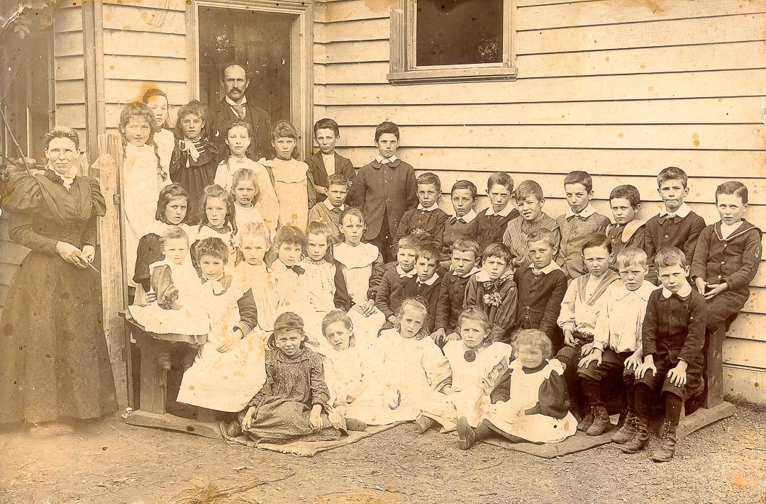 Mr and Mrs Hammett with students at Arthurs Creek State School in the 1890's. Headteacher, Mr. Frederick W. Hammett, was also the first Arthurs Creek postmaster