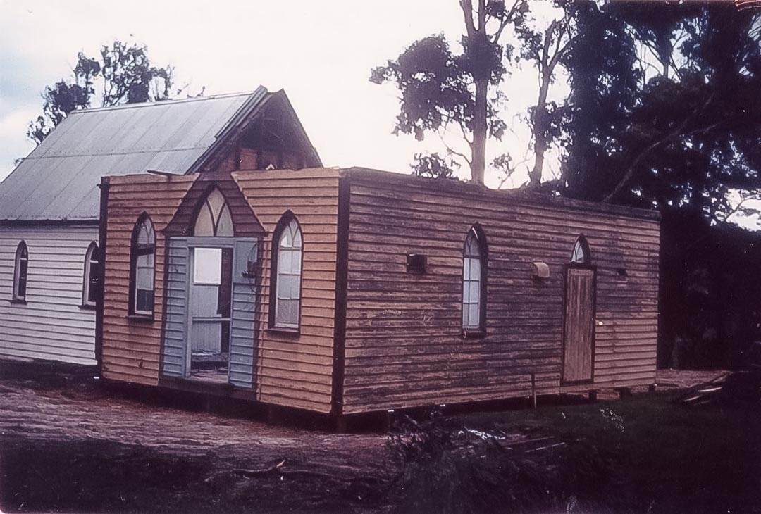Diamond Creek chapel being joined to Arthurs Creek chapel, where it still serves as a Sunday school hall for the Uniting Church c 1963