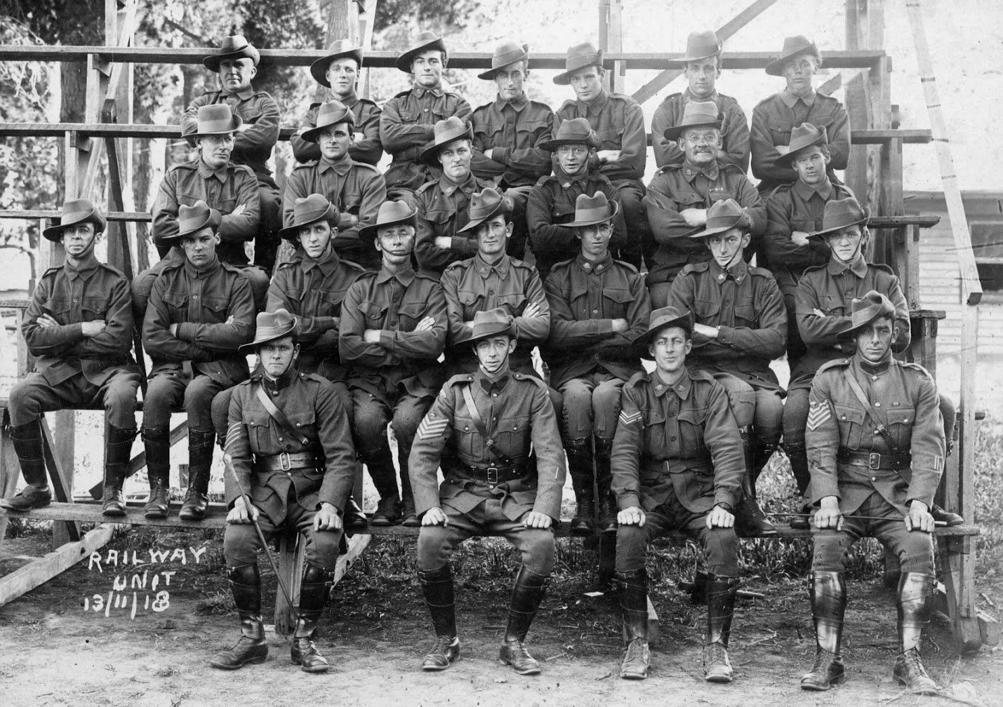 Railway Unit, 13th November 1918.  Leslie Apted, back row, second from left