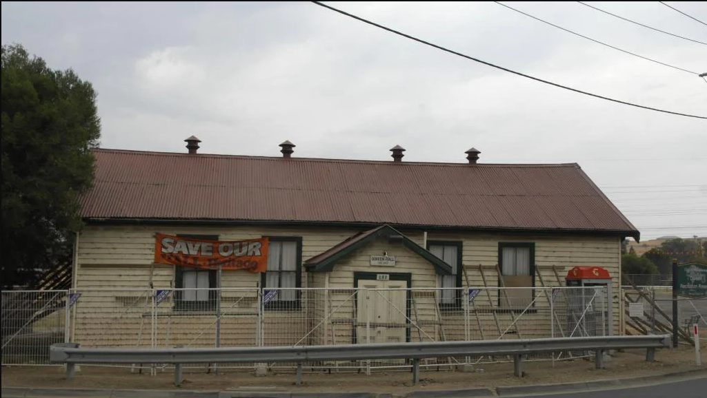 Doreen Hall, which was demolished in 2015 despite the best efforts of the local community to save it.  At the Doreen Hall Communication Session held on 28 June 2006, local residents dismissed the idea of placing a historical marker on the hall site and urged co-operation between the Whittlesea and Nillumbik Councils to erect a suitable replacement hall and pavilion on the Doreen Recreation Reserve. Photo credit Whittlesea Leader January 9, 2015