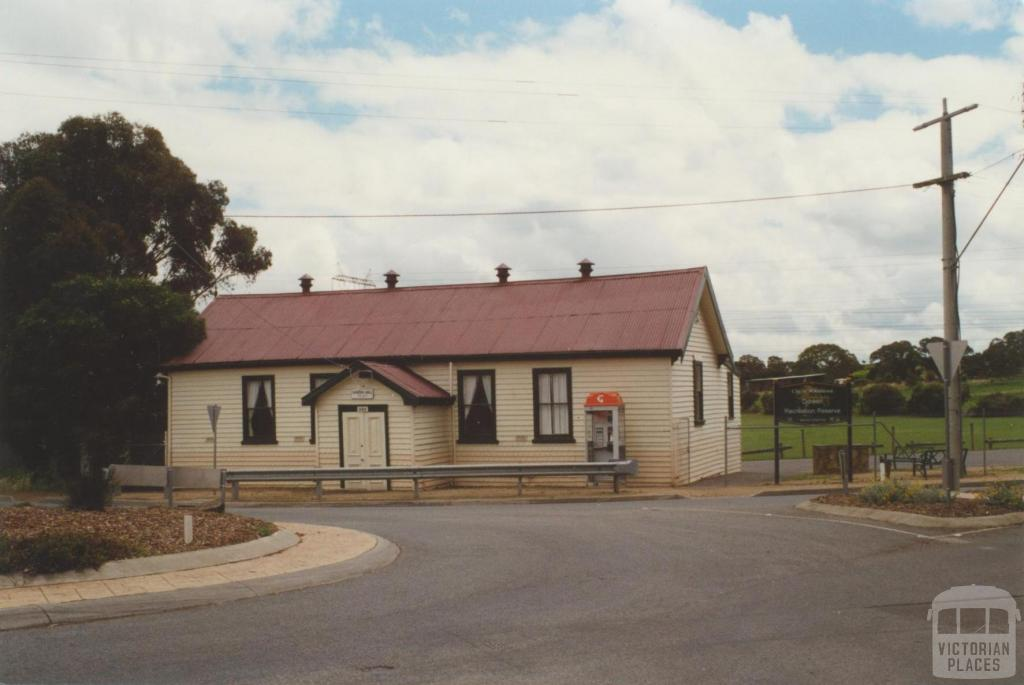 Doreen Hall, c 2000.  It was on the corner of Bridge Inn Road and Yan Yean Road, originally called Hickey's Corner.  The hall, built in 1908, was once the hub of community life but had not been used since 2002.  Photo credit John Young, Victorian Places