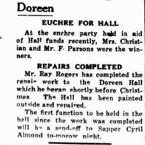 The first function after repairs during WW2 was a send-off for Sapper Cyril Almond.  Doreen Hall, Eltham and Whittlesea Shires Advertiser 12 Jan 1940. Credit Trove, National Library of Australia