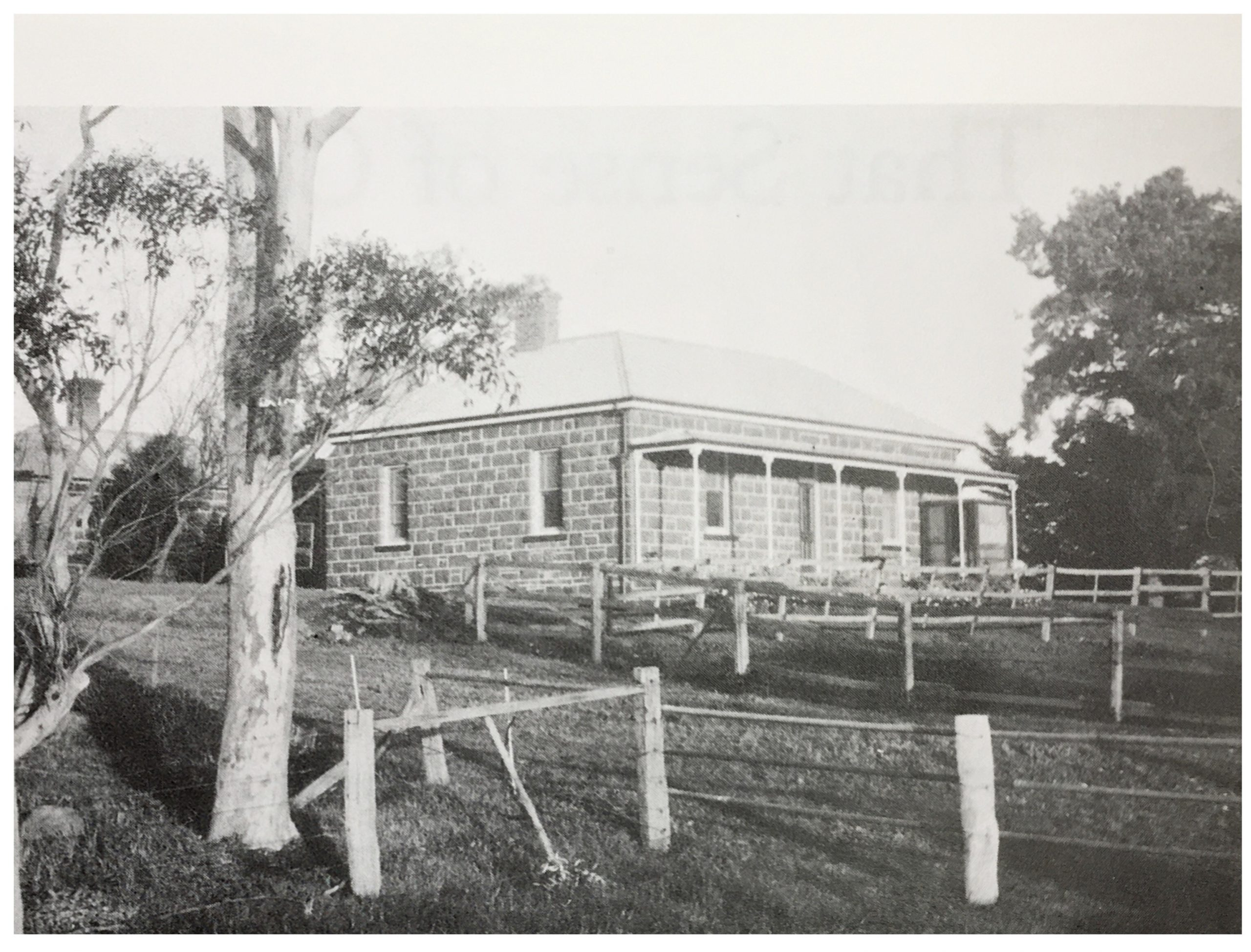 'Fenwick' Homestead, Yan Yean, by Bruce G. Draper, 1970s.  This fine bluestone house is typical of the area and was constructed during the 1860s and 1870s using bluestone blocks cut on the site.  It gives an idea of how homesteads such as 'Craigie Lee' looked prior to being abandoned in recent times
