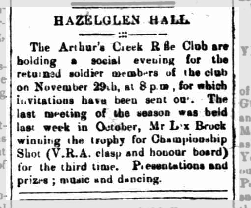 An event for returned WW1 soldiers held at Hazelglen Hall.  Eltham and Whittlesea Shires Advertiser and Diamond Creek Valley Advocate, 21 Nov 1919.  Credit Trove, National Library of Australia
