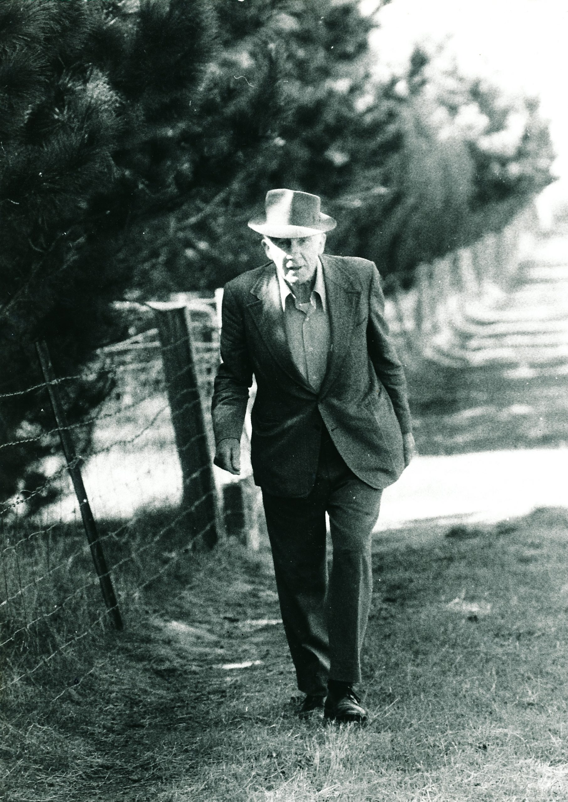 The author's father, James Chester Draper (1905 - 1998), pictured on his property 'Maranui' which was opposite the Yan Yean Reservoir c 1995