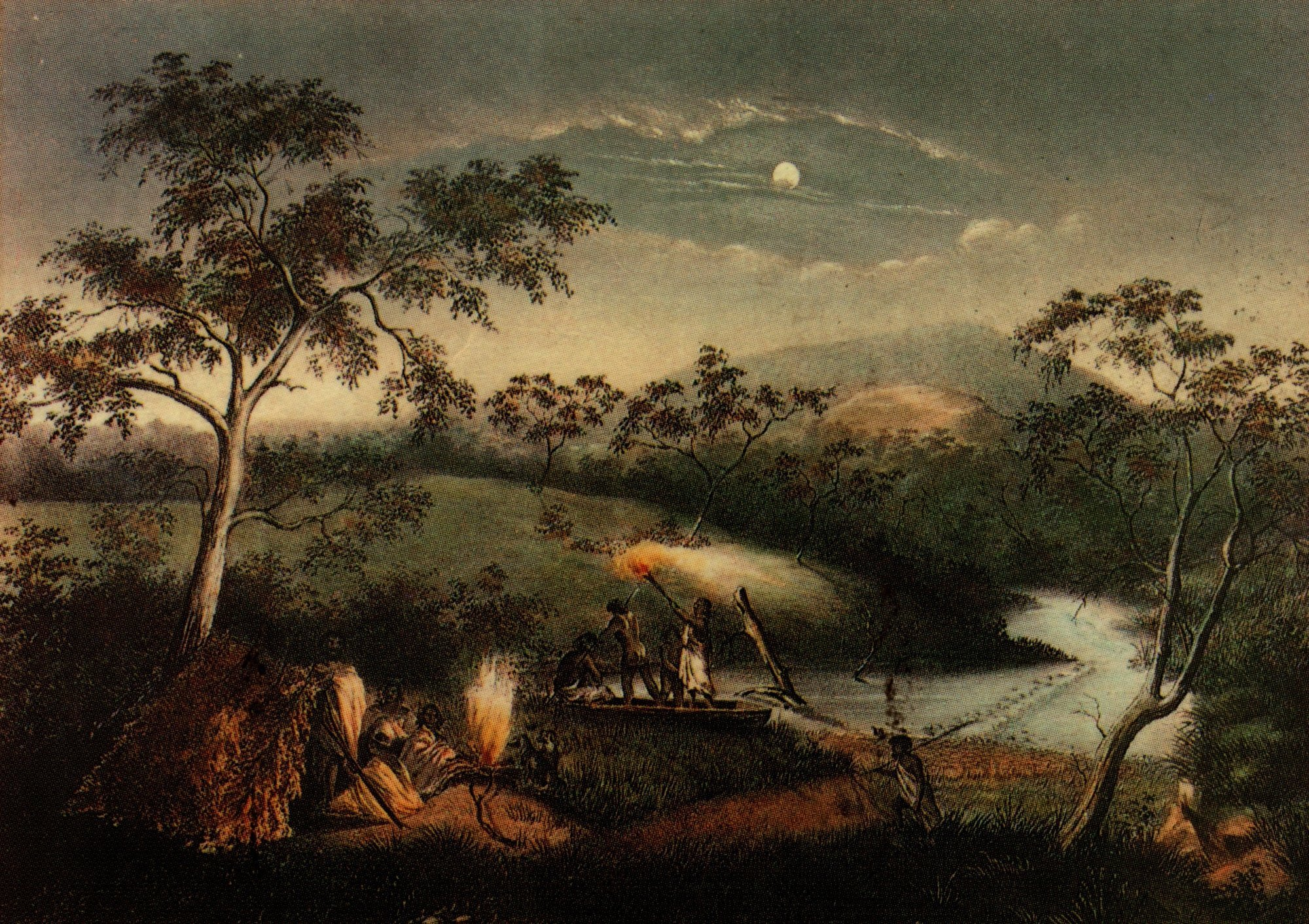 Aboriginal people fishing and camping on Merri Creek, by Charles Troedel, 1864 - Souvenir Views of Melbourne and Victorian Scenery, Melbourne, 1865.  Credit State Library of Victoria.  The Wurundjeri are an Aboriginal Australian nation of the Woiwurrung language group, in the Kulin alliance. They occupied the Birrarung (Yarra River) Valley before British colonisation and managed lands extending over approximately 12,000 square kilometres, including what is now known as Arthurs Creek.  One of the early settlers, Captain Harrison, remembered his sister Kate being saved from drowning by some Wurundjeri women.  Walter Thomas at the Bridge Inn, Mernda, said they had taught him to swim