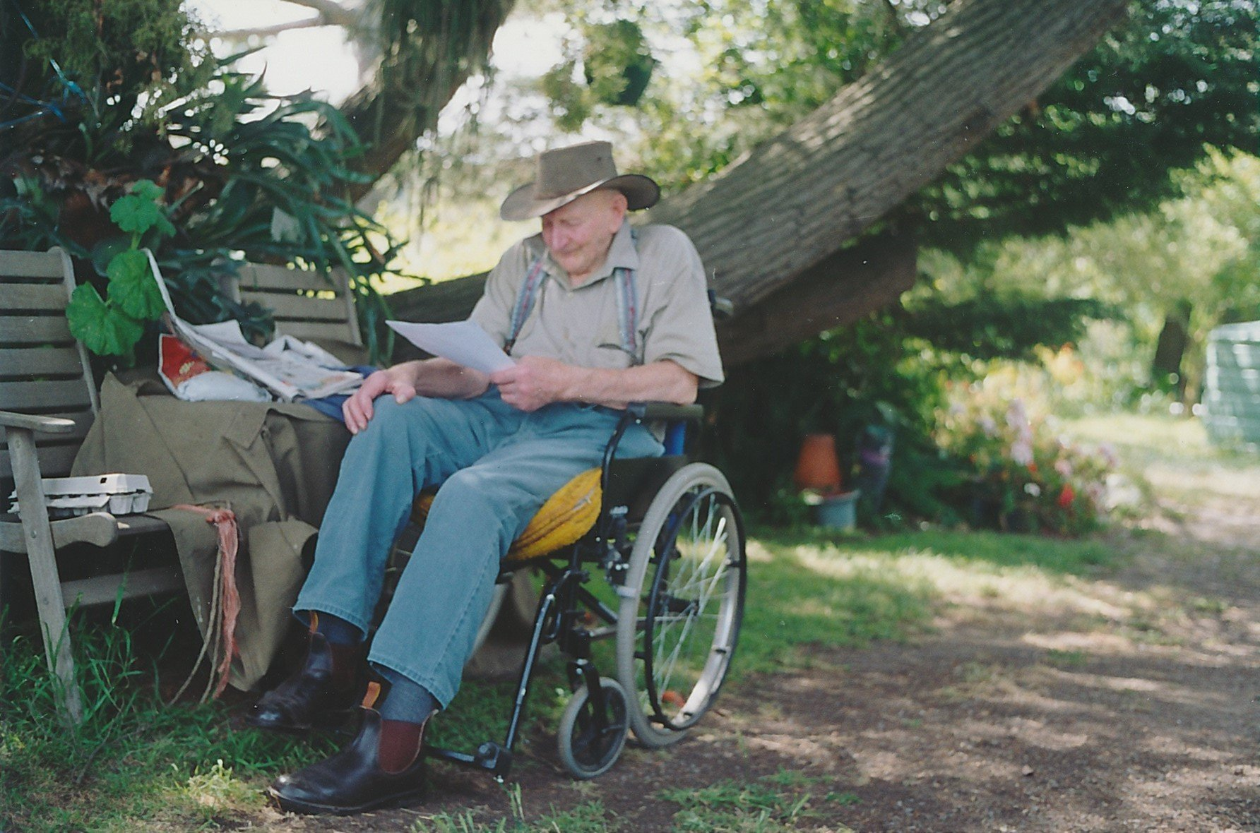 Arnold Mervyn 'Merv' Draper (1914-2004), youngest son of James and Blanche (nee Hurrey) Draper, and the author's uncle.  Pictured at 'Barton Hill' November 2003