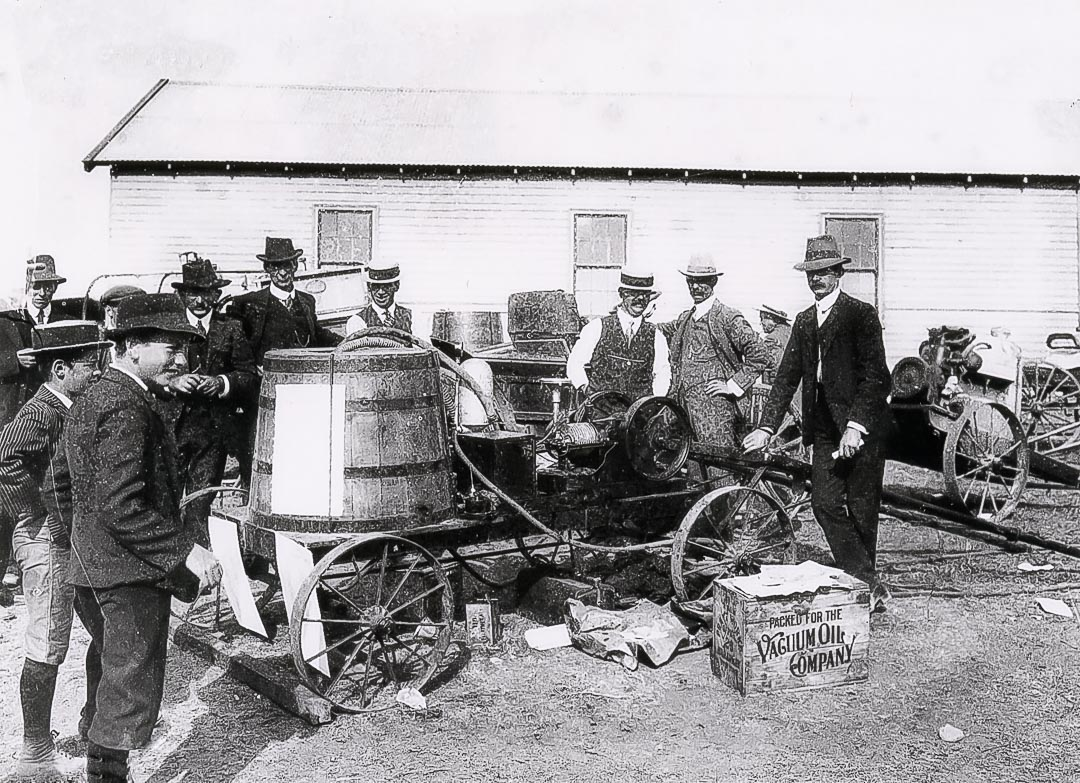 Arthurs Creek orchardists attending a demonstration of spraying and materials by the district orchard supervisor Mr. E. Wallis held at Martin Brennan's property on July 16, 1913.