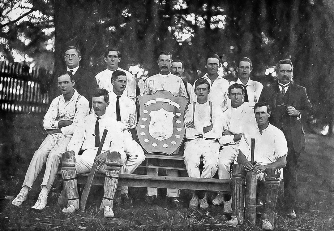 Arthurs Creek Cricket Club Premiers 1920-21. John Addison (Jack) Laidlay - in front row with bat and wearing tie.  William Neil Laidlay - behind Jack and also wearing tie