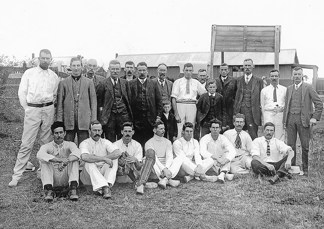Arthurs Creek Cricket Club at Mernda Railway Station.  Rear: (on left) Everard Bassett of 'Tregowan', (4th from left) L.W. Clarke of 'Linton Grange', (on right) Ned Lobb.  Front: (on left) Fred Bassett, (3rd from left) Will Laidlay