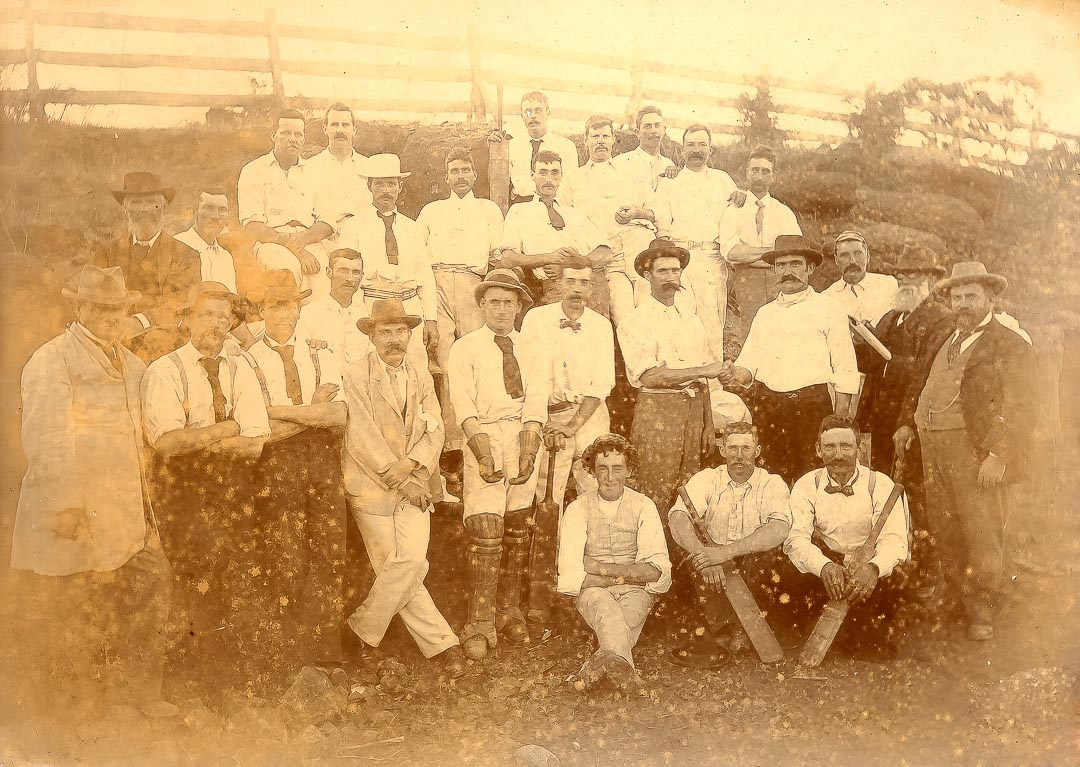 Players in County Cricket Match, Evelyn vs. East Bourke.  Season 1899-1900