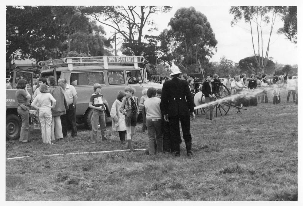 A display by the Yan Yean Fire Brigade.  Back to Yan Yean Celebrations, 7th and 8th October, 1978. Photo credit State Library of Victoria
