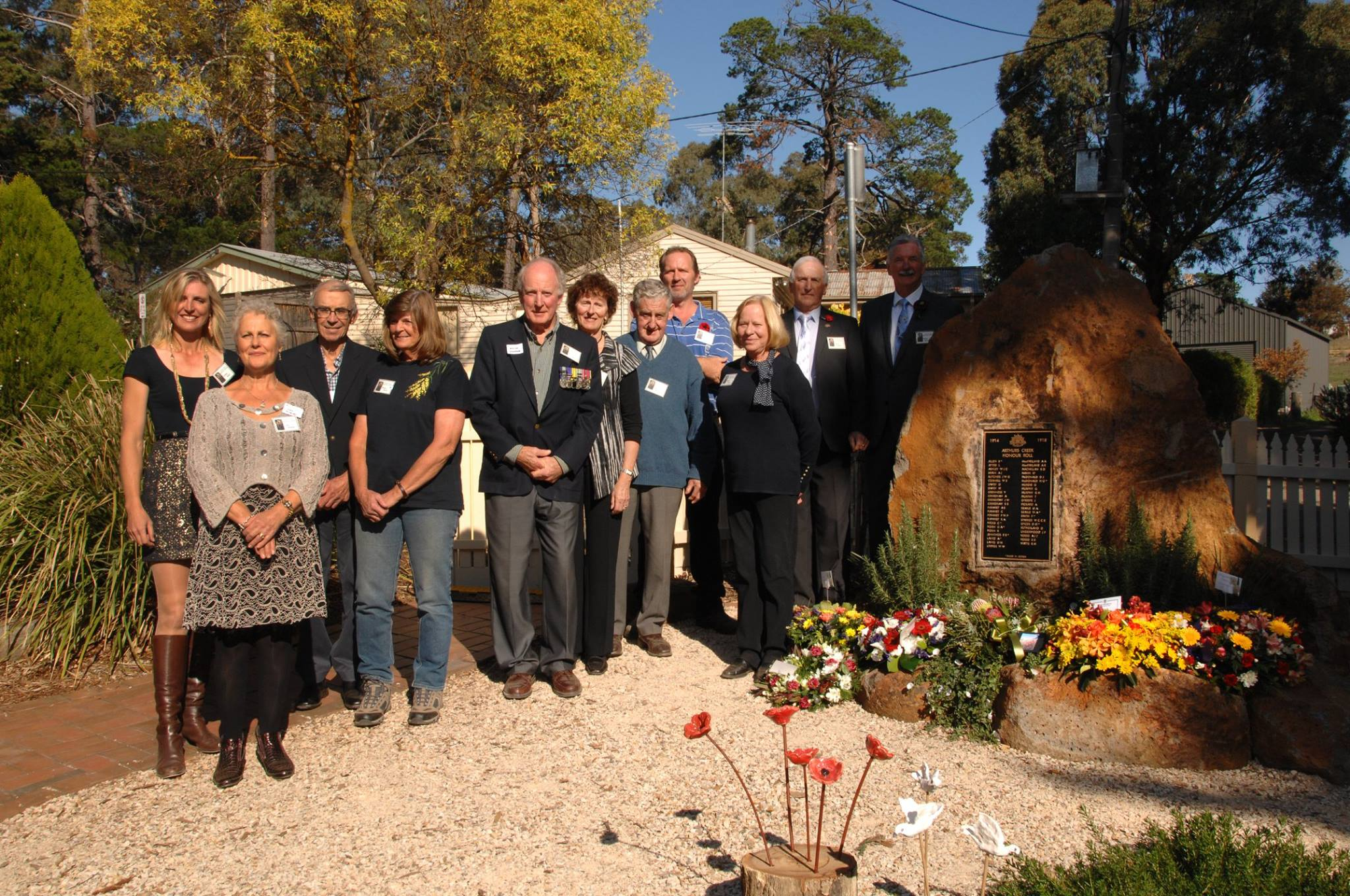 """He served on the Committee of the Arthurs Creek Mechanics Institute, pictured here at the WW1 Honour Roll and Commemorative Garden Opening, Sunday 17th April 2016 (fifth from the left).  Collette Apted (pictured far left) said """"we spent a lot of time together working on all those historical projects and it was wonderful.  He will be missed by so many people"""""""