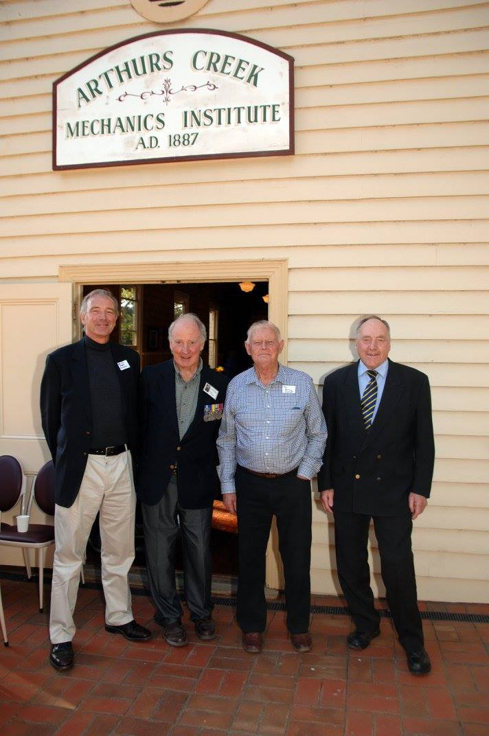 Bruce G. Draper (second from left), Barrie Apted and  Bruce's brother Robert Draper (right hand side) in 2016 at the Arthurs Creek Mechanics Institute's WW1 Honour Roll and Commemorative Garden Opening.  Information credit Neil Brock