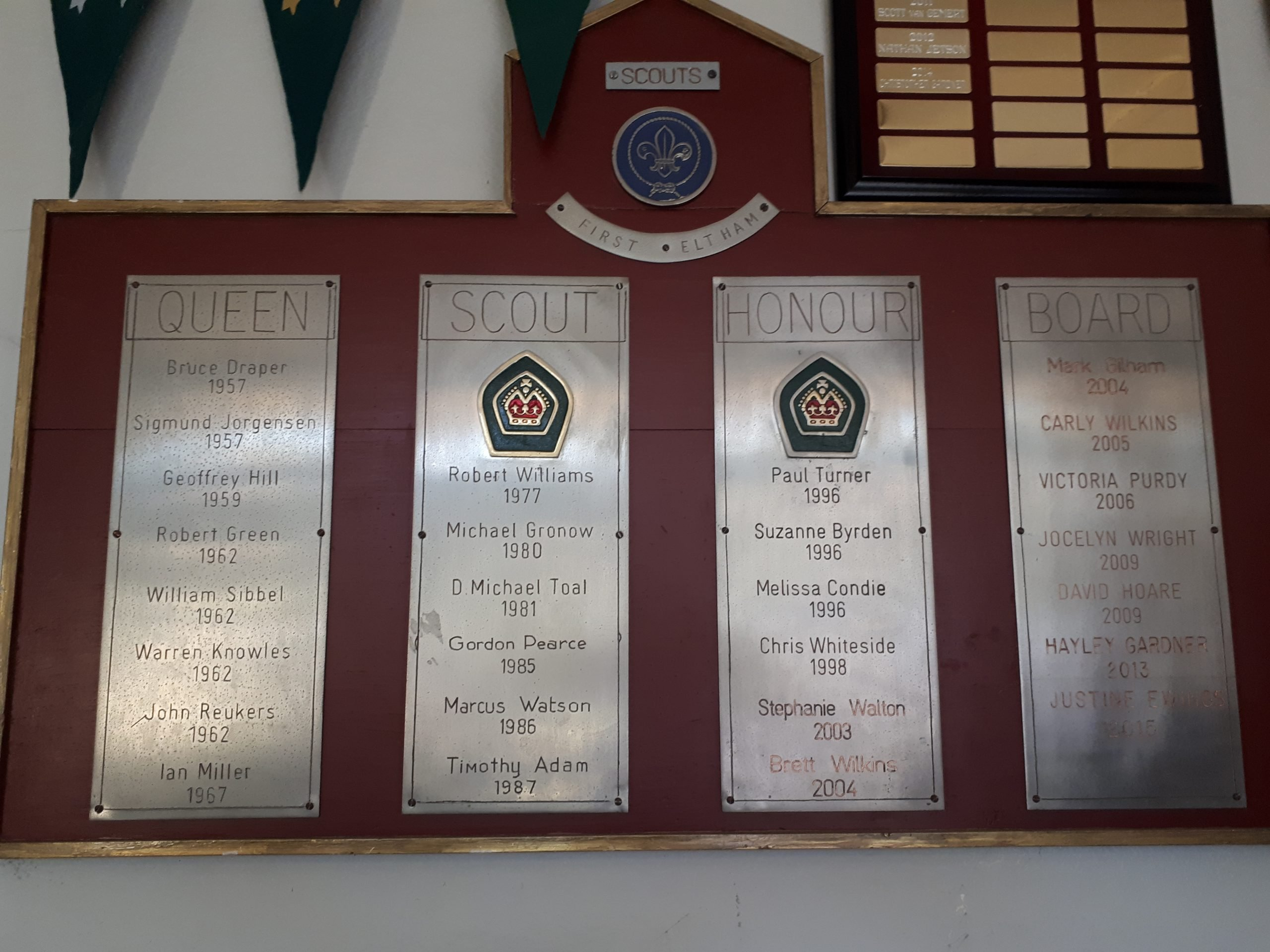 Queen Scout Honour Board at 1st Eltham Scout Hall.  Photo credit Su Perrins