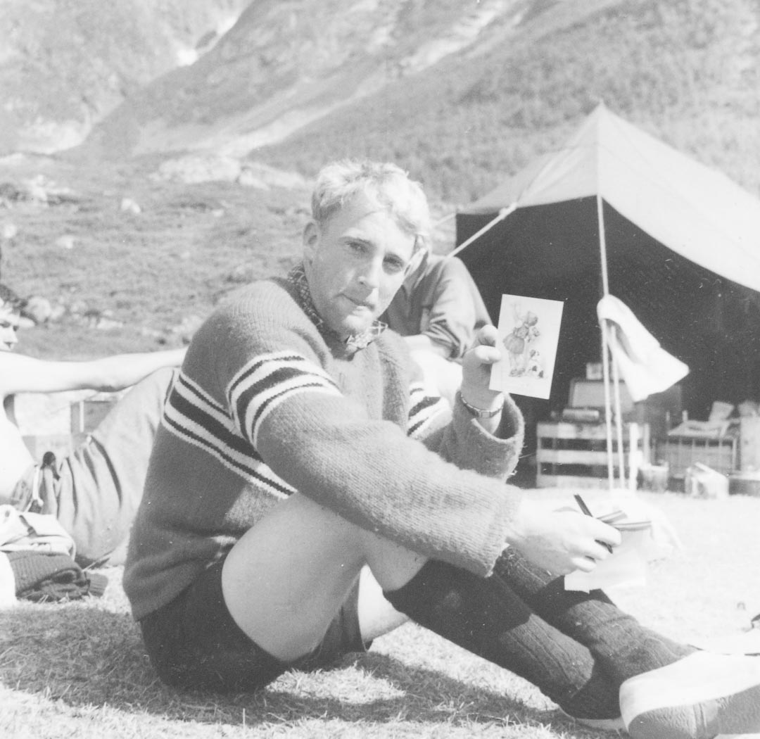 """Bruce with the Raleigh Society of explorers participating in the Royal Naval Colleges 'Norped '61' four-day ski and climbing expedition to Jostedalsbreen, Norway.  Ian Noble saw The Raleigh Society in BRNC Dartmouth Magazines, they """"organised talks on various geopolitical subjects, including 'Modern China', experiences in British Somaliland and East Africa, and Kennedy's problems in the USA in 1960.  I gathered that attendees and speakers discussed the subject matter with drinks over the following hours"""".  Information credit Ian Noble"""