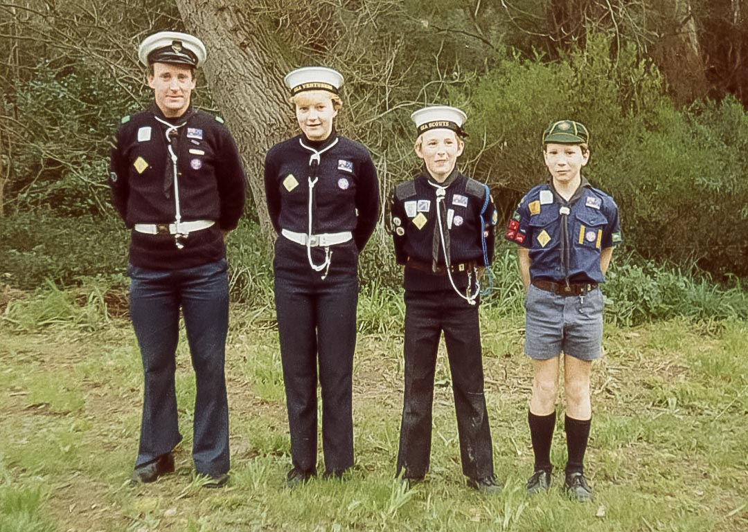 As a 1st Ivanhoe Sea Scout Commander with his children, Catherine, Jeremy and Nicholas, 1984