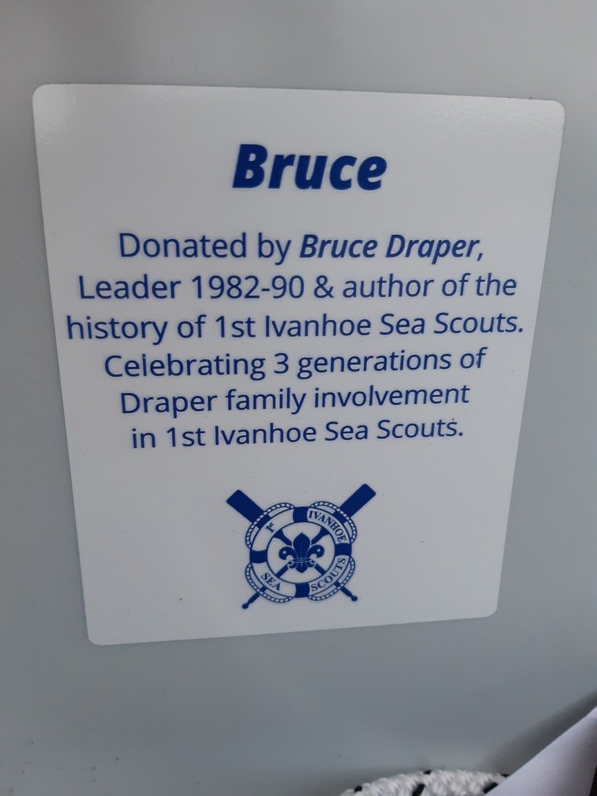 Plaque in the Laser Pico sailboat at 1st Ivanhoe Sea Scouts, dedicated 11th December 2019.  A legacy for the young people of tomorrow.  Photo credit Nick Draper