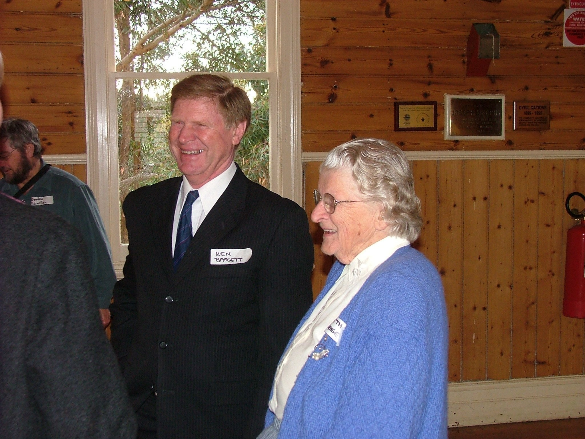Kathleen Bassett of 'Tregowan' and her son Ken Bassett pictured at the Arthurs Creek Mechanics Institute History Day and Plaque Unveiling Ceremony on the 11th September, 2005.  Kathleen Bassett presented, on behalf of the entire family, two very fine items of district cricket memorabilia held for many years.  Photo credit Neil Brock