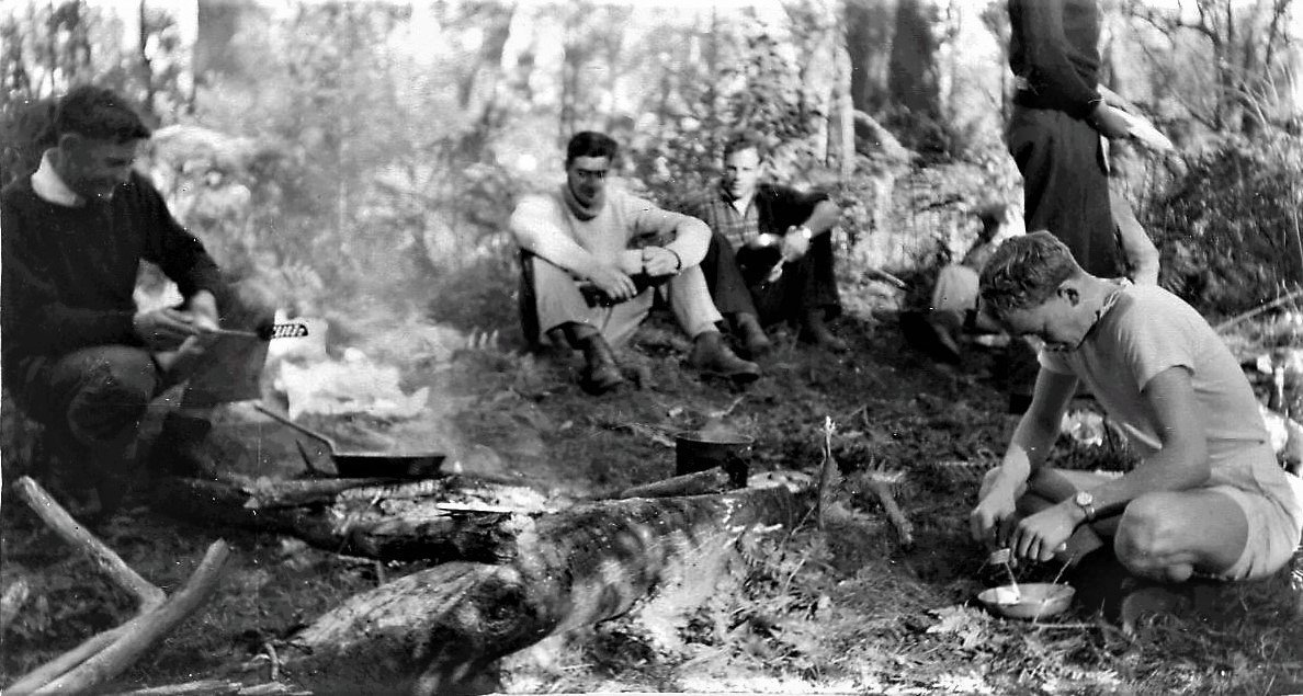 """RANC Expedition (Bruce on the furthest right).  John Ingram says """"like me Bruce was a keen bush-walker. Here we are on a weekend hike in 1958 in which we ascended the pinnacle known as Cook's Pigeon House west of Milton.  Keith Ryall is seen on the left"""".  Photo credit John Ingram"""