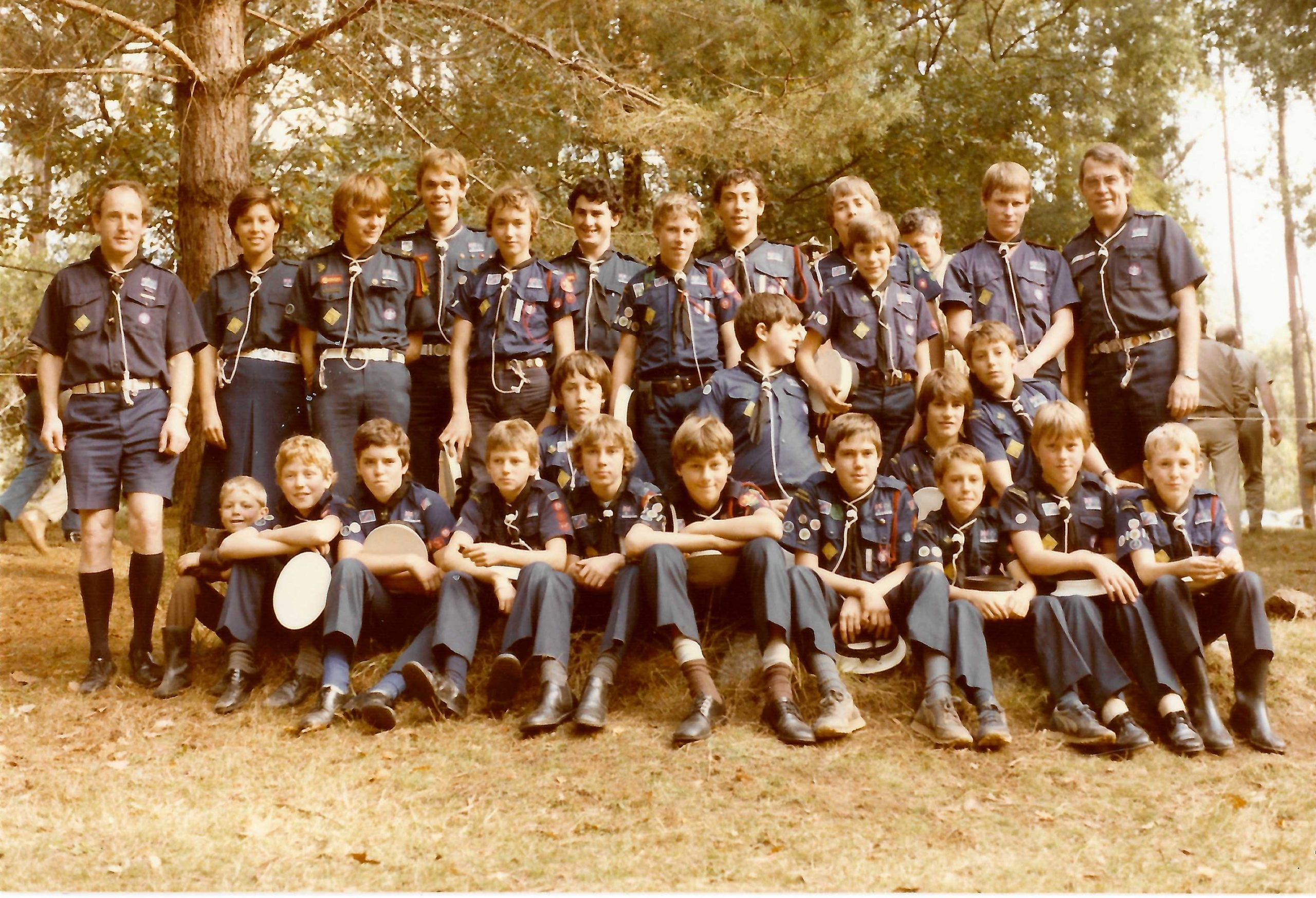 1st Ivanhoe participants in the Stradbroke Cup Camping Competition at Gilwell Park, Gembrook, April 1984.  Bruce stands on the far left