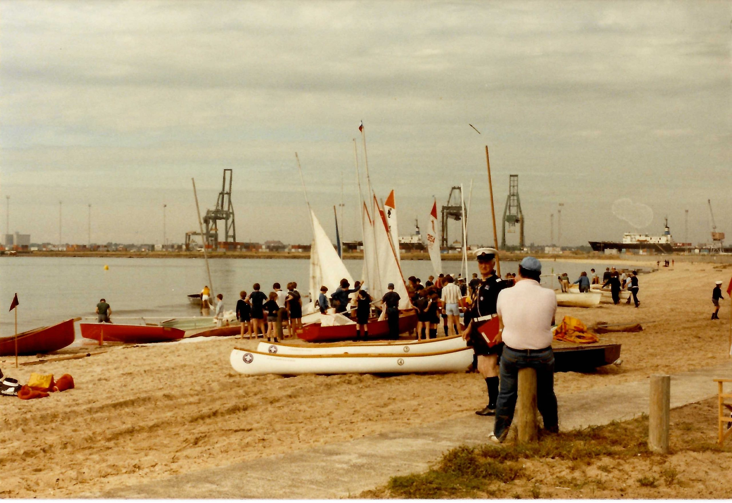 With the 1st Ivanhoe Sea Scouts Annual Port Melbourne Regatta, Sandridge Beach, Port Melbourne.  Sunday 27 November, 1983.  His expert knowledge of water activities was never blatantly displayed, he guided both youth and adults in water skills with his long experience and understanding of sailing techniques, recalled Peter Datson, Collection Manager, Scout Heritage Victoria