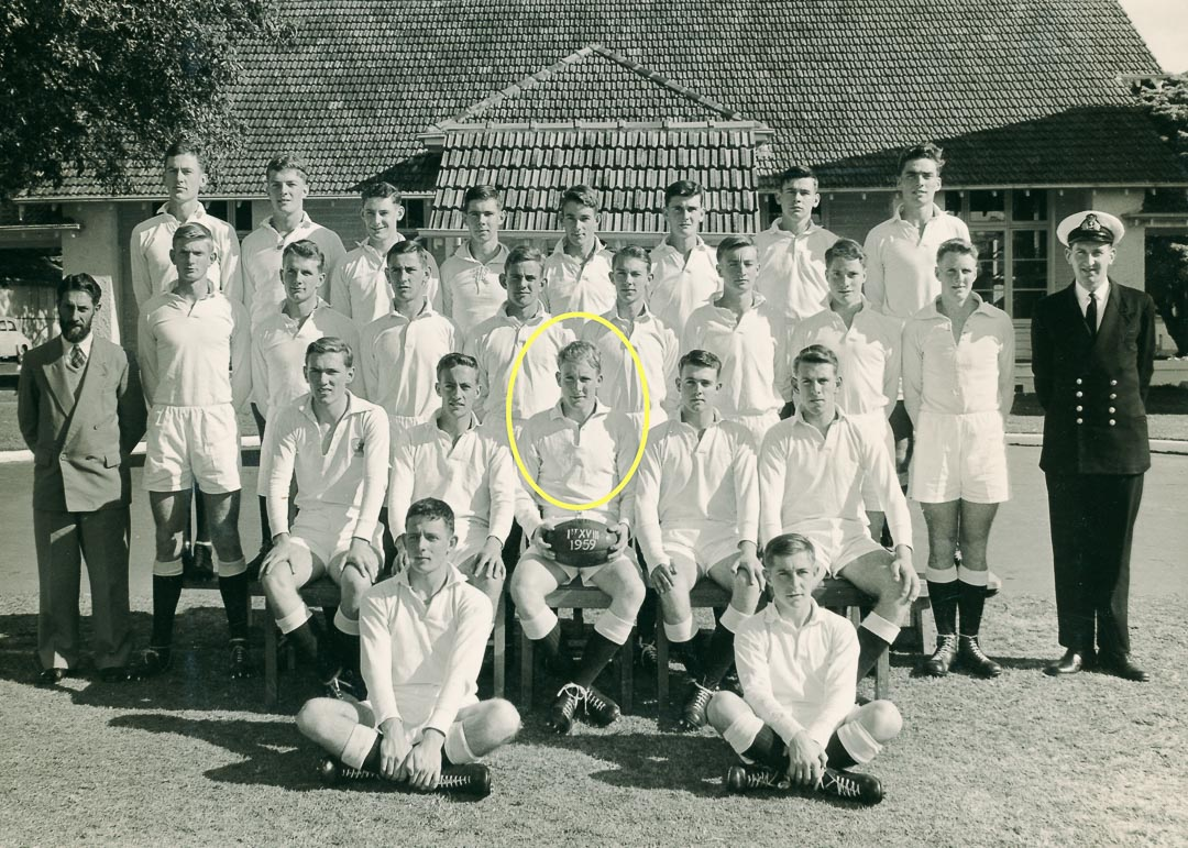 HMAS CRESWELL, N.S.W.  Bruce was the Captain of the Australian Rules football team.  The bell house and dining hall at CRESWELL are behind, and Chris Bolton, the team Vice Captain is on Bruce's left.  Bruce played both Australian Rules First XVIII (pictured), and Rugby Union First XV in 1959 at the Royal Australian Naval College.  Information credit Chris Bolton
