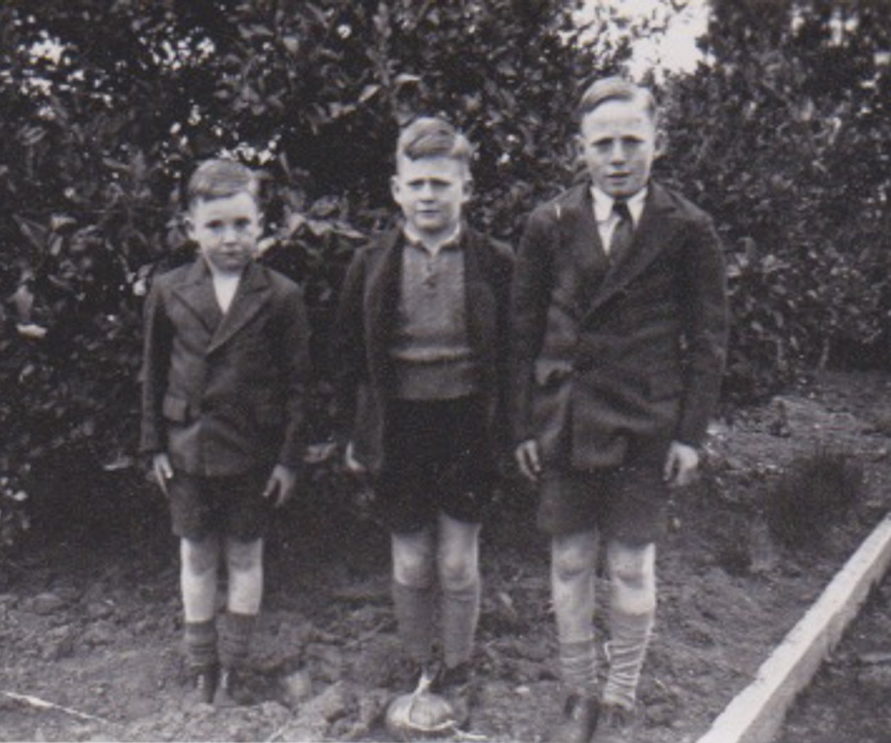 From left, Bruce, Alan and Robert Draper in Heyfield, Gippsland c 1947