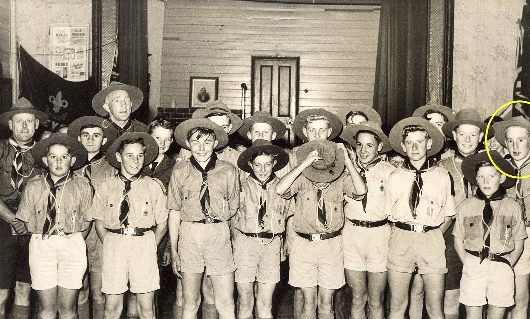 Bruce with the 1st Heyfield Scouts in the 1950's.  The Scout Leader second from the left is his father, James Chester Draper